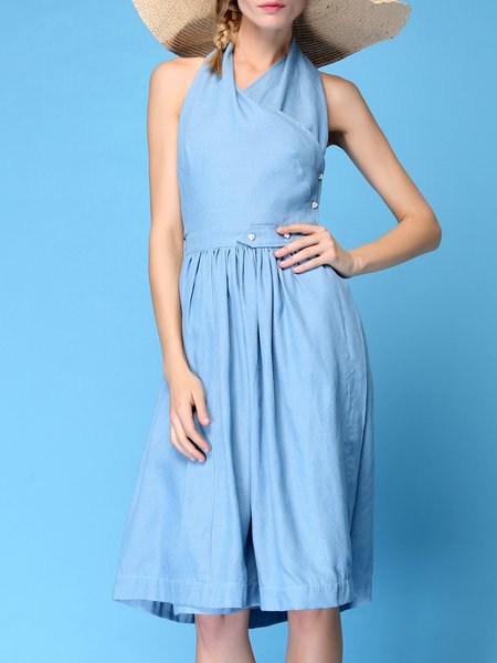 Light Blue Halter Denim Sleeveless A-line Midi Dress
