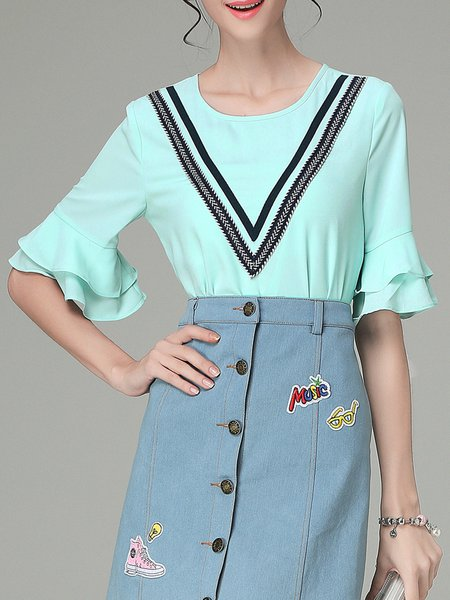 Green Frill Sleeve Geometric Chiffon Blouse