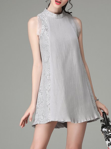 Gray Girly A-line Paneled Mini Dress