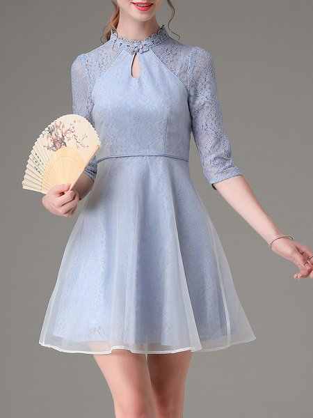 Paneled 3/4 Sleeve Lace Organza Vintage Mini Dress