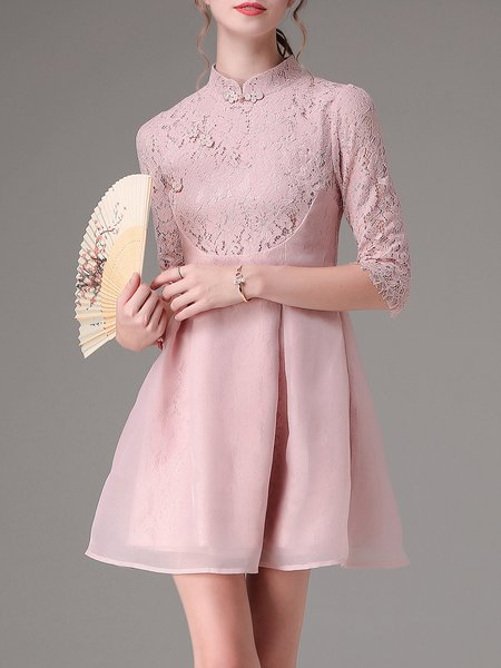 Pink Vintage Stand Collar Paneled Mini Dress