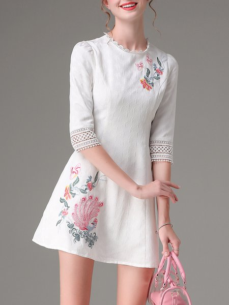 White Embroidered Jacquard 3/4 Sleeve Mini Dress