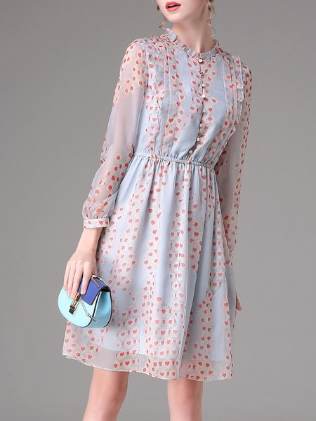 Multicolor Chiffon Sweet Midi Dress