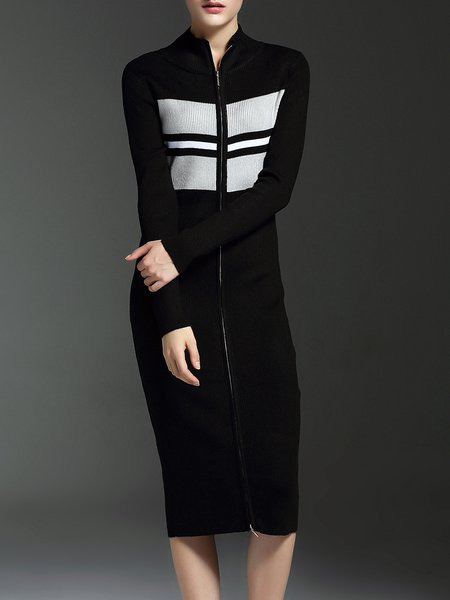 Black Zipper Sheath Long Sleeve Knitted Midi Dress