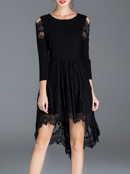 Black High Low 3/4 Sleeve Crocheted Sexy Midi Dress
