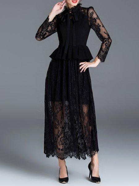 Black Long Sleeve Crocheted Peplum Maxi Dress