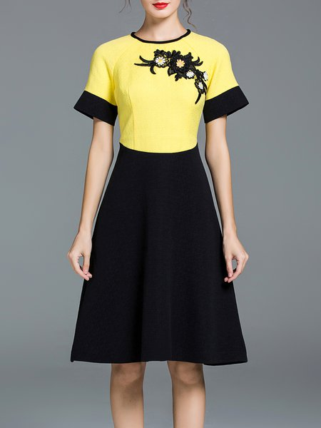 Yellow Short Sleeve Color-block Midi Dress