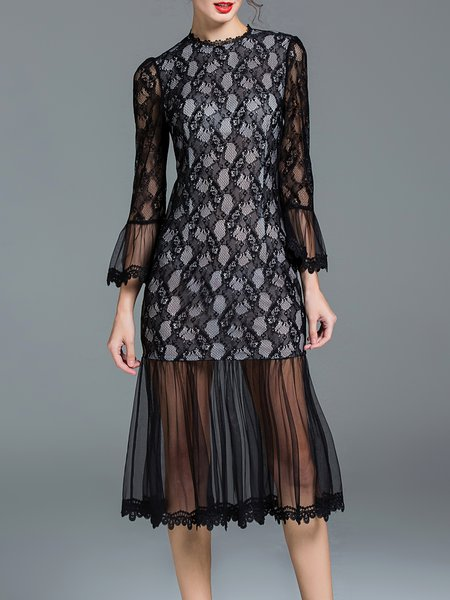 Black Elegant Frill Sleeve Mesh Lace Paneled Midi Dress