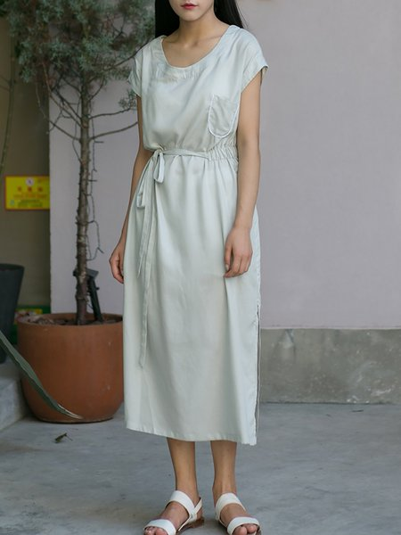 Light Gray Slit Plain Pockets Short Sleeve Midi Dress