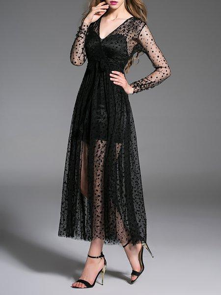 Black Slit Swing Long Sleeve Evening Midi Dress