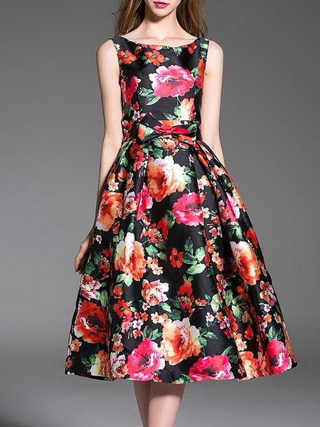 Red Floral Swing Sleeveless Elegant Polyester Midi Dress