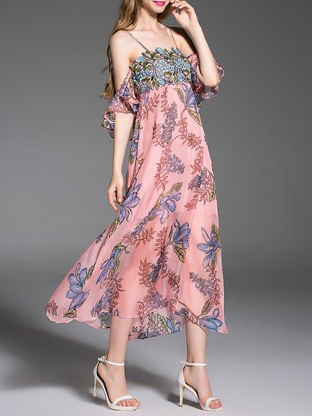 Pink Spaghetti Sexy Floral-print Frill Sleeve Midi Dress