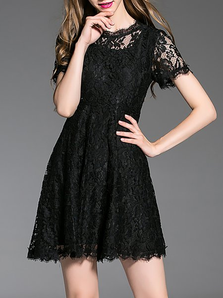 Black Floral Lace Girly A-line Mini Dress
