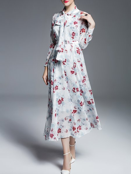 Two Piece Chiffon Floral Elegant Long Sleeve Midi Dress with Belt