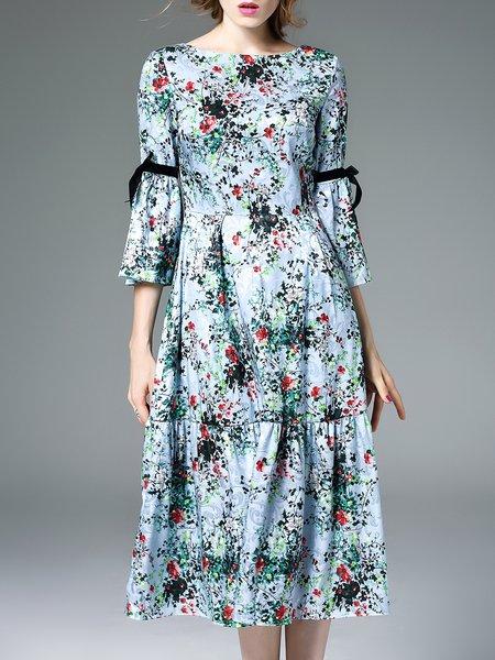 Blue Elegant 3/4 Sleeve Jacquard Floral-print Midi Dress