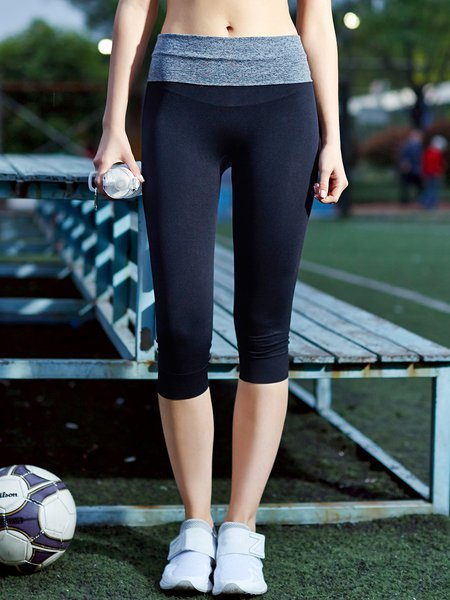 Black Color-block Stretchy Leggings Bottom (Sportswear for Yoga)
