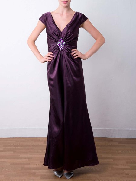 Purple Ruched Sheath Satin V Neck Evening Dress
