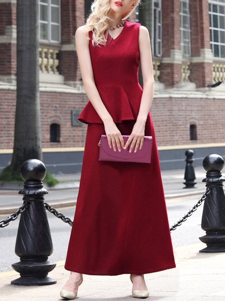 Red Wool Blend Sleeveless Zipper V Neck Peplum Maxi Dress