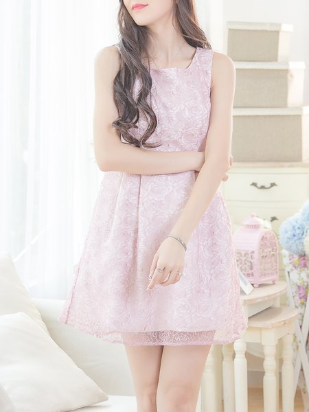 Pink Floral Crew Neck Sleeveless Mini Dress