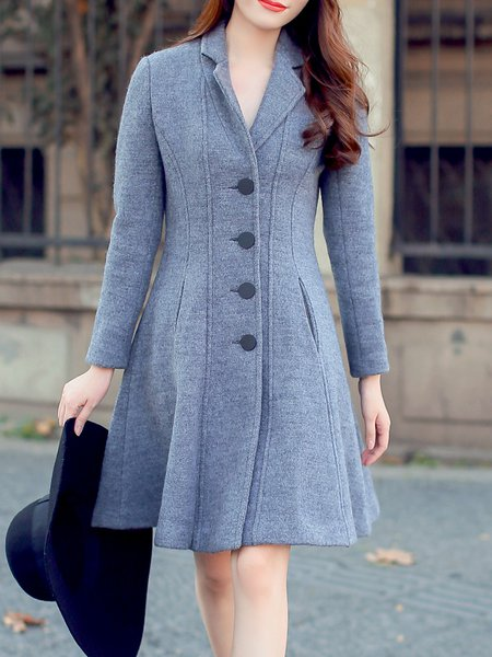 Gray Buttoned Lapel Wool Blend Simple Plain Coat