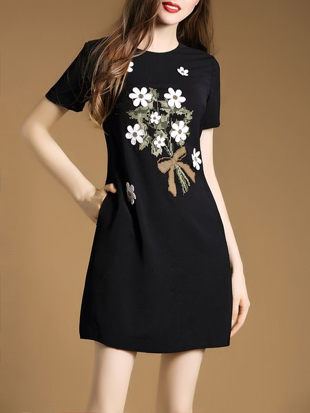 Black Embroidered Polyester Simple Mini Dress