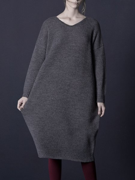 Deep gray Knitted V Neck Simple Wool Blend Midi Dress