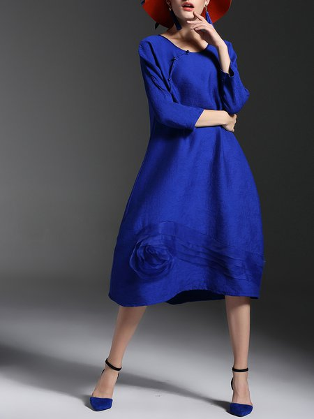 Blue Shift Long Sleeve Appliqued Cotton-blend Midi Dress