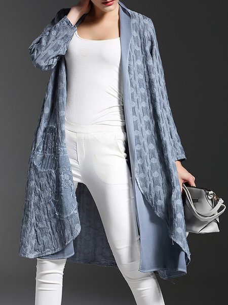 Gray Cotton-blend Long Sleeve Embroidered Coat