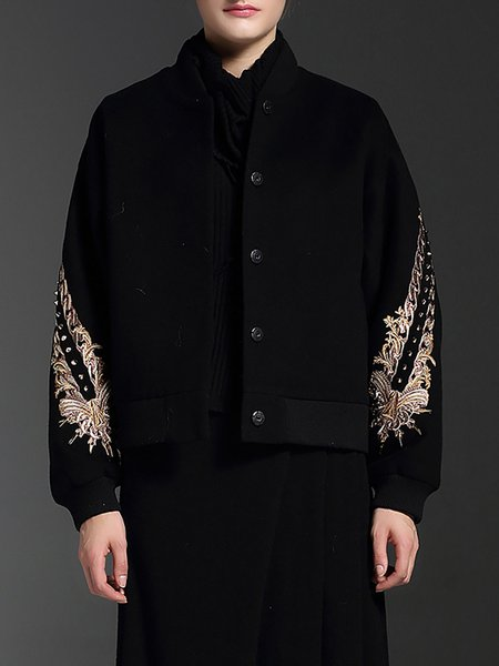 Black Wool Blend Embroidered Rivet Bomber Jacket
