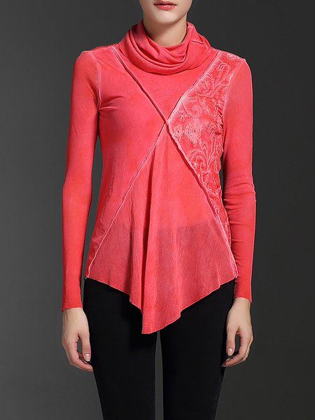 Red Floral Embroidered Cotton-blend Long Sleeved Top