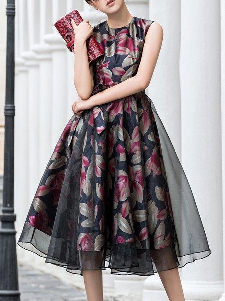 Elegant Paneled Sleeveless Floral Midi Dress with Belt