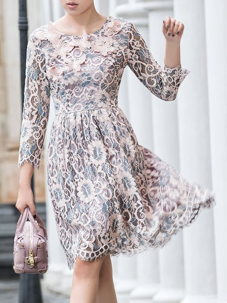 3/4 Sleeve Embroidered Lace Elegant Floral Midi Dress