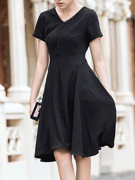 Black Short Sleeve Plain V Neck Midi Dress
