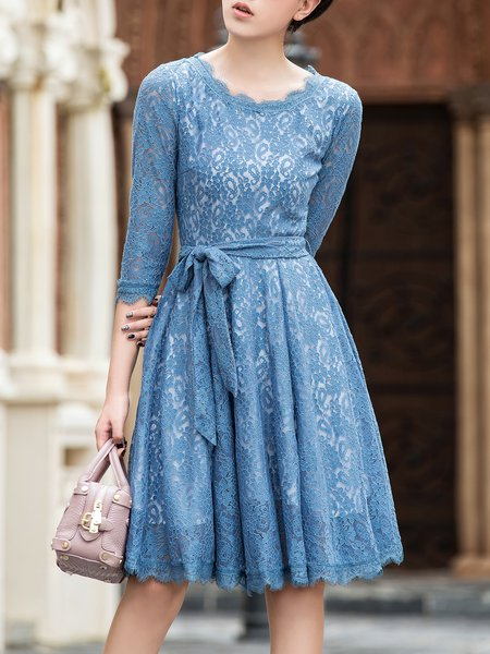 Blue Pierced 3/4 Sleeve Crew Neck Lace Midi Dress with Belt