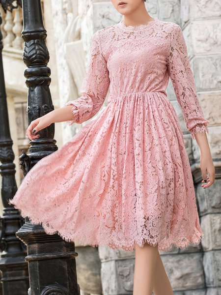 Lace Crew Neck 3/4 Sleeve Pierced Girly Midi Dress