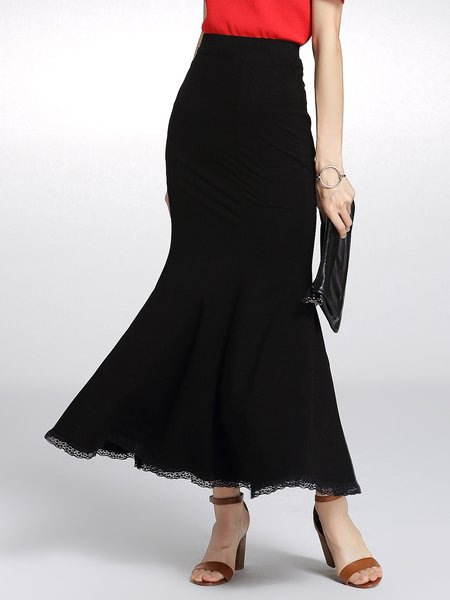 Black Mermaid Plain Simple Maxi Skirt