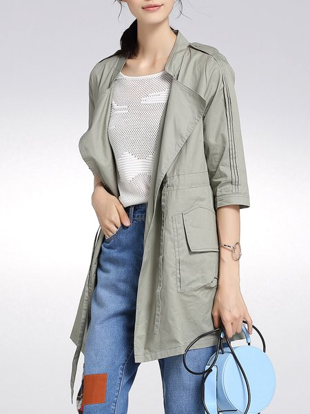 Army Green Pockets Cotton Simple Trench Coat