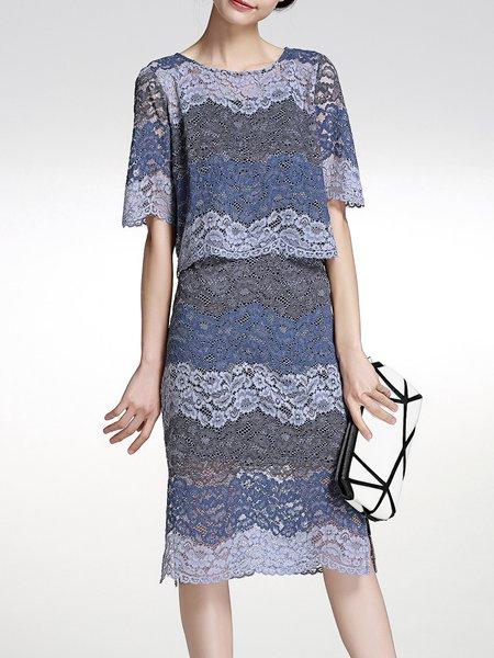 Pierced Lace H-line Half Sleeve Three Pieces Midi Dress