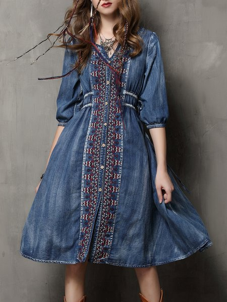 Blue Drawcord Embroidered Denim Resort Midi Dress