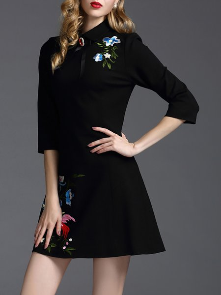 Black Embroidered Floral A-line Elegant Mini Dress