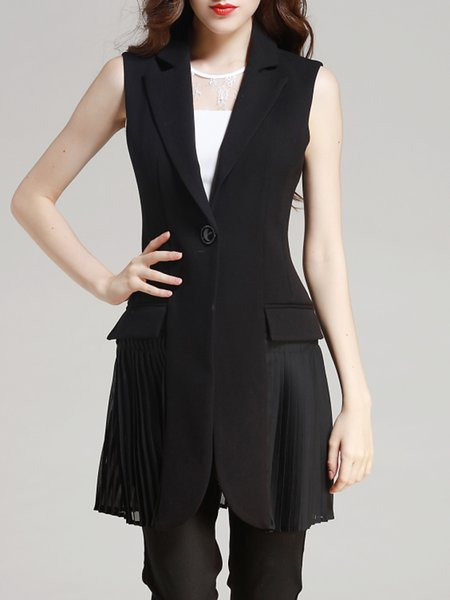 Black Polyester Sleeveless A-line Pleated Gilet