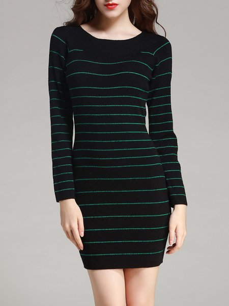 Long Sleeve Bodycon Simple Crew Neck Stripes Sweater Dress