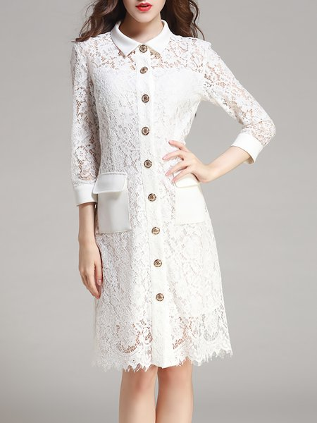 White Lace Buttoned Statement H-line 3/4 Sleeve Shirt Dress