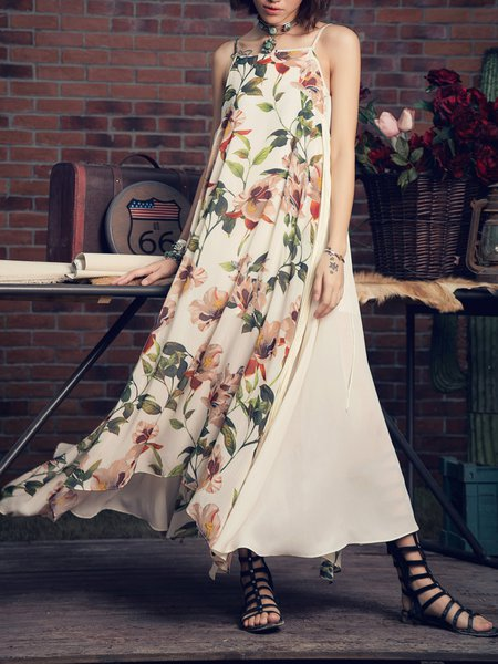 Swing Spaghetti Floral Printed Boho Fringed Maxi Dress