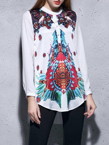 White Printed High Low Stand Collar Elegant Blouse