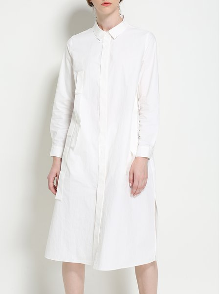 White Pockets Long Sleeve H-line Shirt Dress