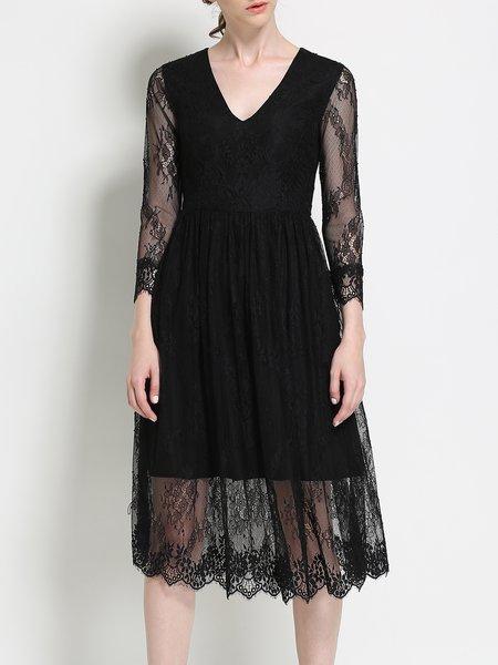 Black V Neck 3/4 Sleeve Lace Midi Dress