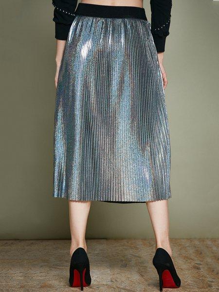 Silver Pleated Simple Plain Midi Skirt - StyleWe.com