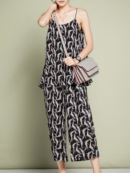 Black Houndstooth Two Piece Spaghetti Simple Jumpsuit