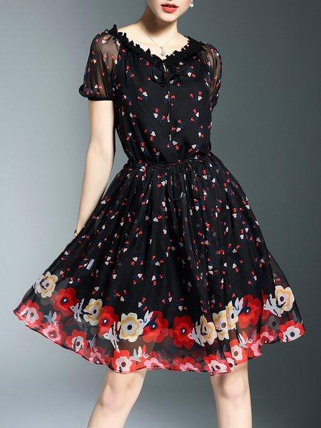 Black Shirred Floral Casual Midi Dress